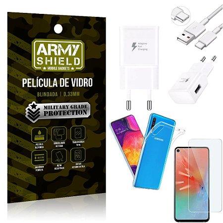 Kit Carregador Tipo C Samsung A60 Carregador + Capa Silicone + Película Vidro - Armyshield