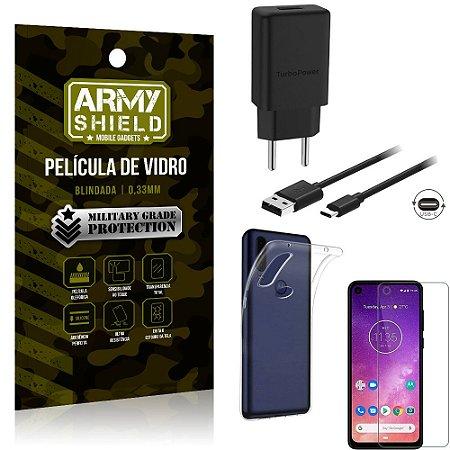Kit Carregador Tipo C 15W Motorola One Vision Carregador + Capa Silicone + Película Vidro - Armyshield