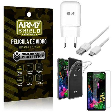 Kit Carregador Tipo C LG G8S Carregador + Capa Silicone + Película Vidro - Armyshield