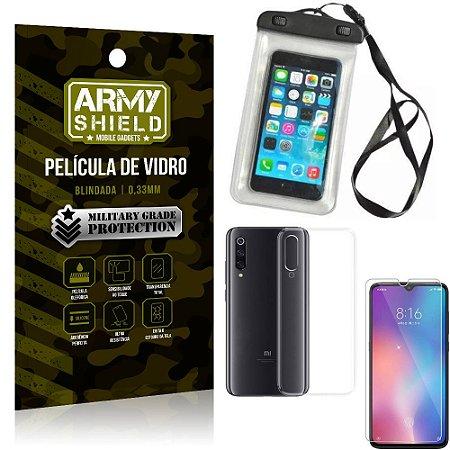 Kit Capa a Prova D'água Xiaomi Mi 9 SE Capa Prova Dagua + Película Vidro + Capa TPU - Armyshield