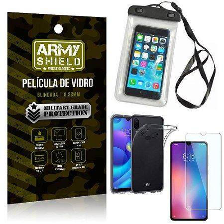 Kit Capa a Prova D'água Xiaomi Redmi Note 7 Capa Prova Dagua + Película Vidro +Capa TPU - Armyshield