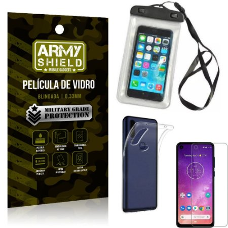 Kit Capa a Prova D'água Motorola One Vision Capa Prova Dagua + Película Vidro +Capa TPU - Armyshield