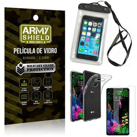 Kit Capa a Prova D'água LG G8S Capa Prova Dagua + Película Vidro + Capa TPU - Armyshield