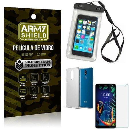 Kit Capa a Prova D'água LG K12 K12 Plus Capa Prova Dagua + Película Vidro + Capa TPU - Armyshield