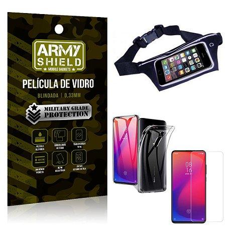 Kit Pochete Xiaomi Redmi K20 Mi 9T Pochete + Película de Vidro + Capa Silicone - Armyshield