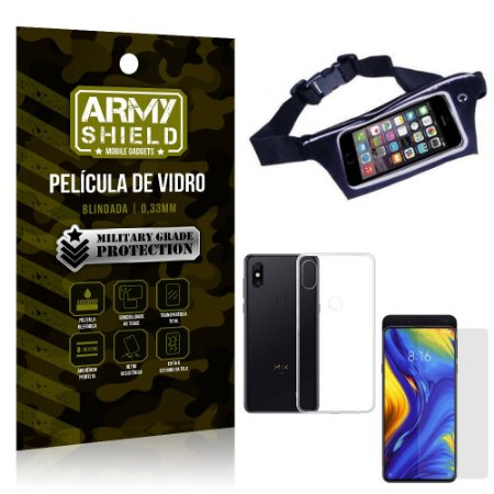 Kit Pochete Xiaomi Mi Mix 3 Pochete + Película de Vidro + Capa Silicone - Armyshield