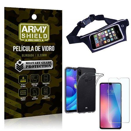 Kit Pochete Xiaomi Redmi Note 7 Pochete + Película de Vidro + Capa Silicone - Armyshield