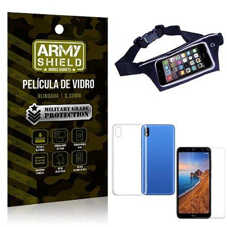 Kit Pochete Xiaomi Redmi 7A Pochete + Película de Vidro + Capa Silicone - Armyshield