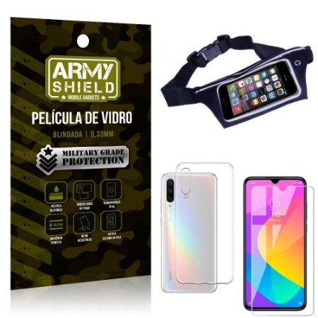 Kit Pochete Xiaomi Mi A3 (CC9e) Pochete + Película de Vidro + Capa Silicone - Armyshield