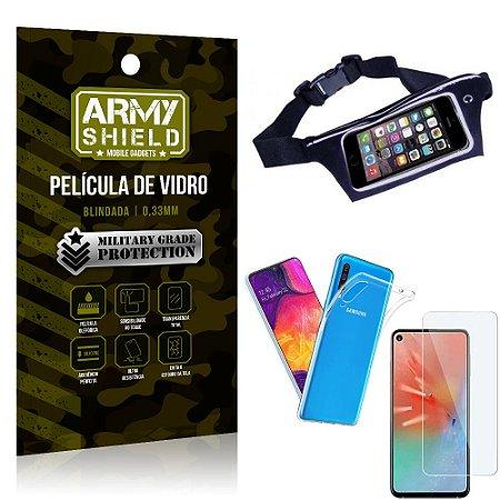 Kit Pochete Samsung A60 Pochete + Película de Vidro + Capa Silicone - Armyshield