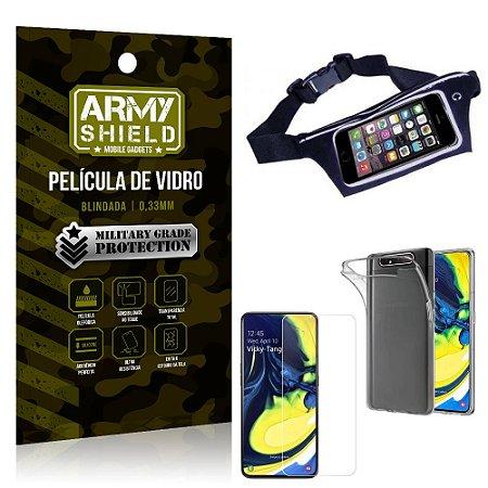 Kit Pochete Samsung A80 Pochete + Película de Vidro + Capa Silicone - Armyshield