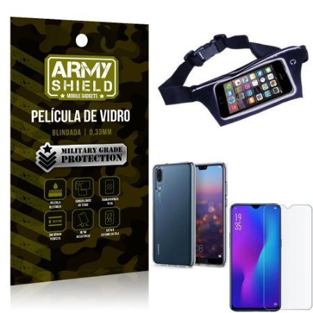 Kit Pochete Huawei P30 Pochete + Película de Vidro + Capa Silicone - Armyshield