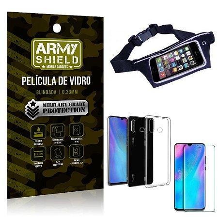 Kit Pochete Huawei P30 Lite Pochete + Película de Vidro + Capa Silicone - Armyshield
