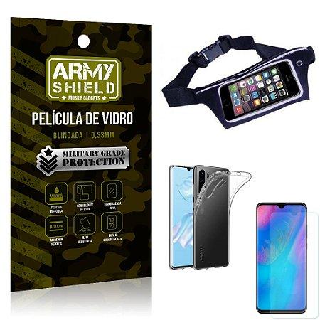 Kit Pochete Huawei P30 Pro Pochete + Película de Vidro + Capa Silicone - Armyshield
