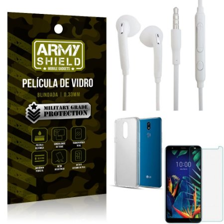 Kit Fone de ouvido LG K12 K12 Plus Fone de Ouvido + Película Vidro + Capa Silicone - Armyshield