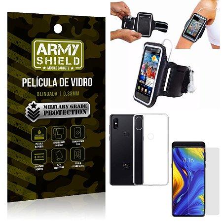 Kit Braçadeira Xiaomi Mi Mix 3 Braçadeira Corrida + Película Vidro + Capa Silicone - Armyshield