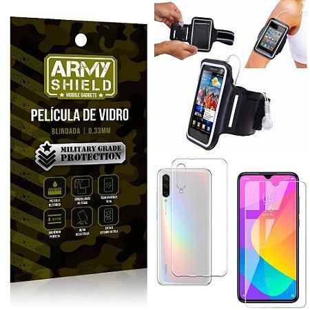 Kit Braçadeira Xiaomi Mi A3 (CC9e) Braçadeira Corrida + Película Vidro + Capa Silicone - Armyshield