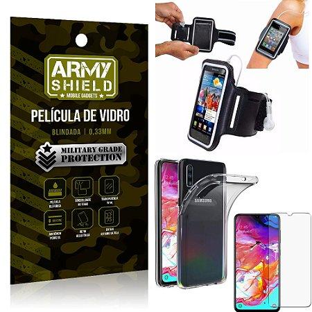 Kit Braçadeira Samsung A70 Braçadeira Corrida + Película Vidro + Capa Silicone - Armyshield