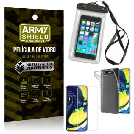 Kit Braçadeira Samsung A80 Braçadeira Corrida + Película Vidro + Capa Silicone - Armyshield