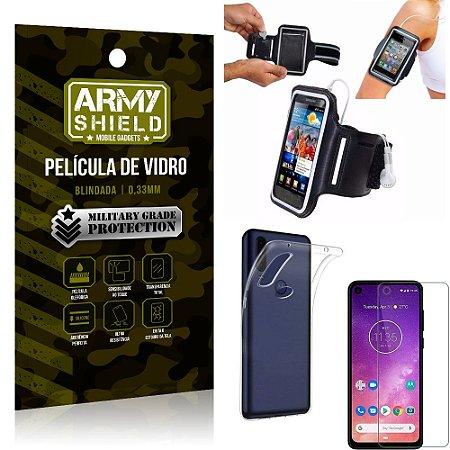 Kit Braçadeira Motorola One Vision Braçadeira Corrida + Película Vidro + Capa Silicone - Armyshield