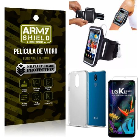 Kit Braçadeira LG K12 Max Braçadeira Corrida + Película Vidro + Capa Silicone - Armyshield