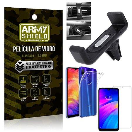 Kit Suporte Veicular Xiaomi Redmi 7 Suporte Veicular + Película Vidro + Capa TPU - Armyshield