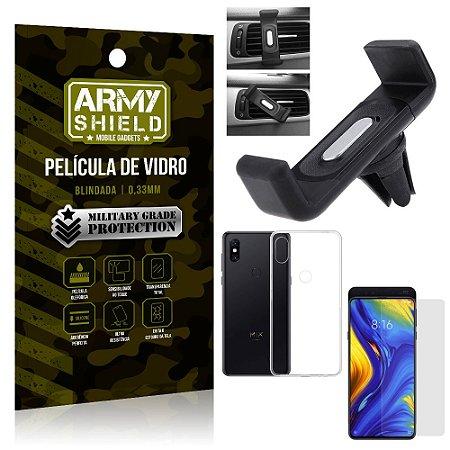 Kit Suporte Veicular Xiaomi Mi Mix 3 Suporte Veicular + Película Vidro + Capa TPU - Armyshield