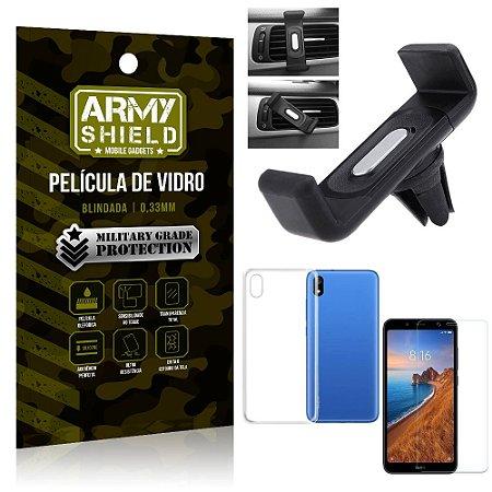 Kit Suporte Veicular Xiaomi Redmi 7A Suporte Veicular + Película Vidro + Capa TPU - Armyshield