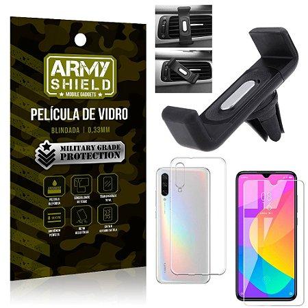 Kit Suporte Veicular Xiaomi Mi A3 (CC9e) Suporte Veicular + Película Vidro + Capa TPU - Armyshield