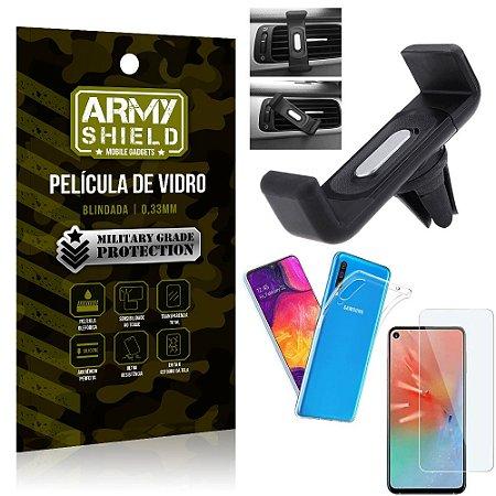 Kit Suporte Veicular Samsung A60 Suporte Veicular + Película Vidro + Capa TPU - Armyshield