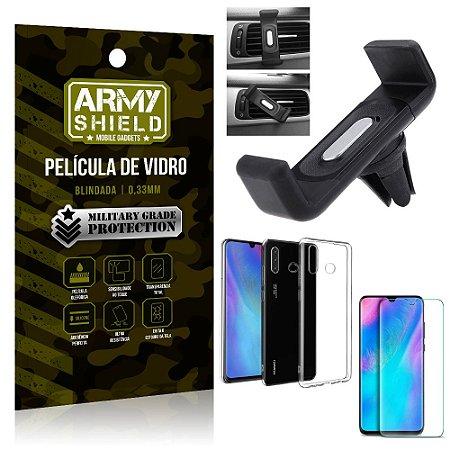 Kit Suporte Veicular Huawei P30 Lite Suporte Veicular + Película Vidro + Capa TPU - Armyshield