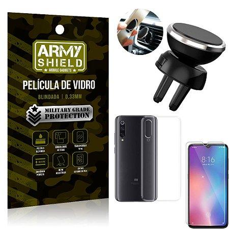 Kit Suporte Veicular Magnético Xiaomi Mi 9 SE Suporte + Película Vidro + Capa TPU - Armyshield