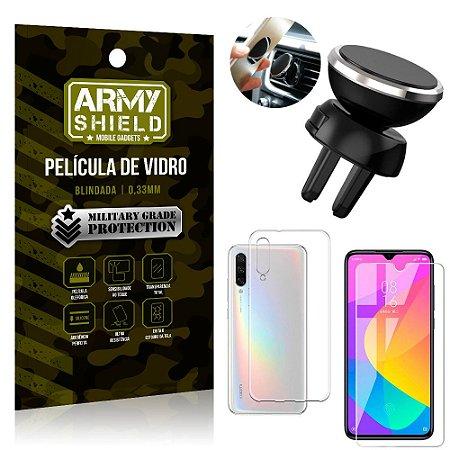 Kit Suporte Veicular Magnético Xiaomi Mi A3 (CC9e) Suporte + Película Vidro + Capa TPU - Armyshield
