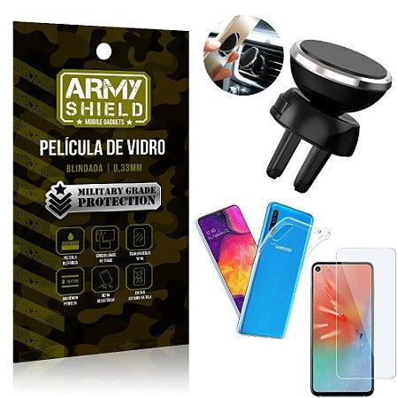 Kit Suporte Veicular Magnético Samsung A60 Suporte + Película Vidro + Capa TPU - Armyshield