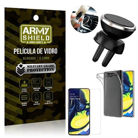 Kit Suporte Veicular Magnético Samsung A80 Suporte + Película Vidro + Capa TPU - Armyshield