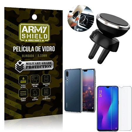 Kit Suporte Veicular Magnético Huawei P30 Suporte + Película Vidro + Capa TPU - Armyshield