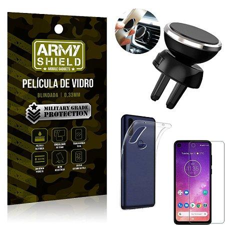 Kit Suporte Veicular Magnético Motorola One Vision Suporte + Película Vidro + Capa TPU - Armyshield