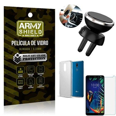 Kit Suporte Veicular Magnético LG K12 K12 Plus Suporte + Película Vidro + Capa TPU - Armyshield