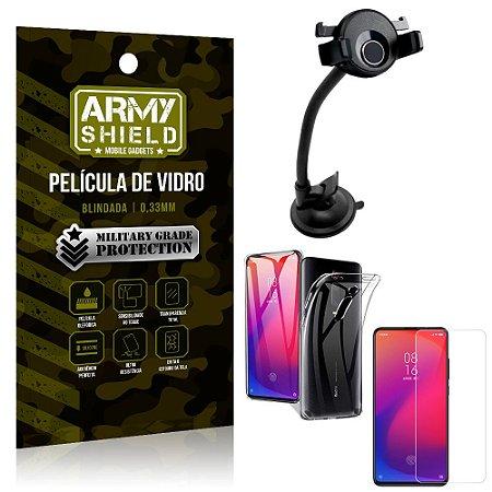 Kit Suporte Veicular Ventosa Xiaomi Redmi K20 Mi 9T Suporte + Película Vidro + Capa TPU - Armyshield