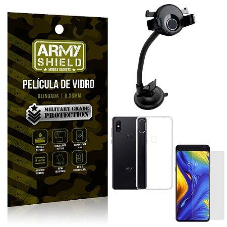 Kit Suporte Veicular Ventosa Xiaomi Mi Mix 3 Suporte + Película Vidro + Capa TPU - Armyshield