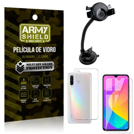Kit Suporte Veicular Ventosa Xiaomi Mi A3 (CC9e) Suporte + Película Vidro + Capa TPU - Armyshield
