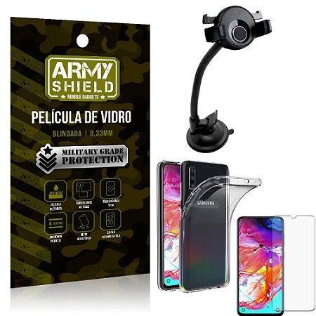 Kit Suporte Veicular Ventosa Samsung A70 Suporte + Película Vidro + Capa TPU - Armyshield