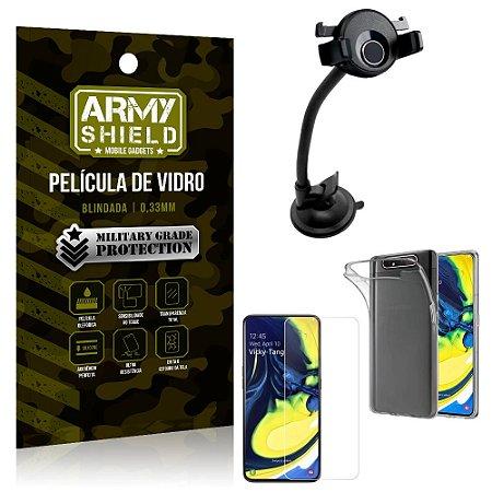Kit Suporte Veicular Ventosa Samsung A80 Suporte + Película Vidro + Capa TPU - Armyshield