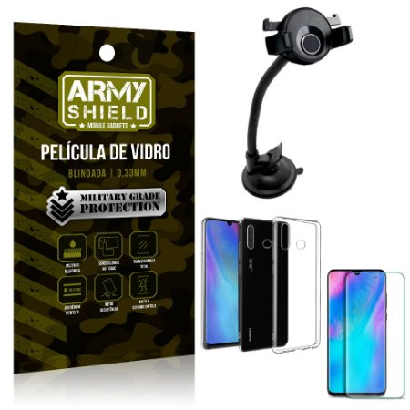 Kit Suporte Veicular Ventosa Huawei P30 Lite Suporte + Película Vidro + Capa TPU - Armyshield