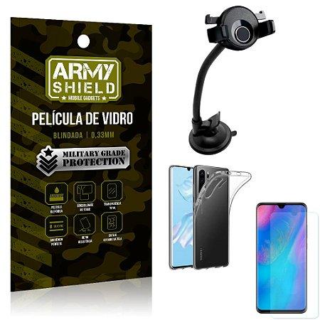 Kit Suporte Veicular Ventosa Huawei P30 Pro Suporte + Película Vidro + Capa TPU - Armyshield