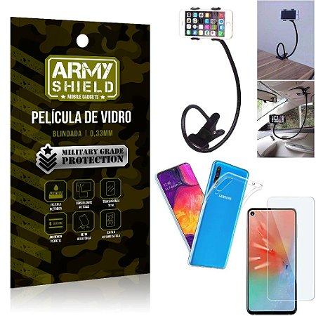 Kit Suporte Flexivel Samsung A60 Suporte + Película Vidro + Capa Silicone - Armyshield