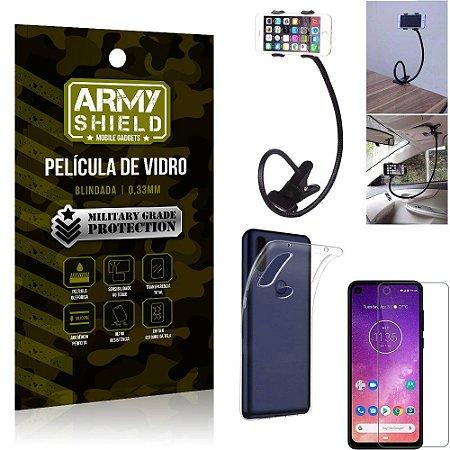 Kit Suporte Flexivel Motorola One Vision Suporte + Película Vidro + Capa Silicone - Armyshield