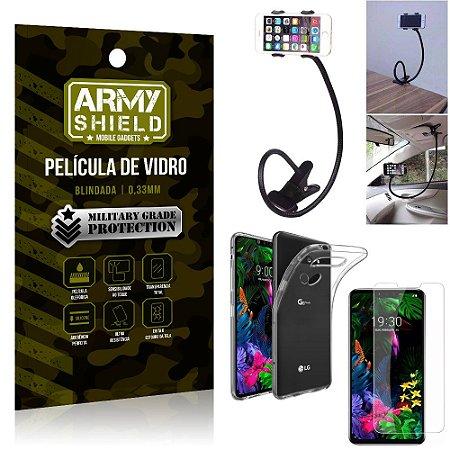 Kit Suporte Flexivel LG G8S Suporte + Película Vidro + Capa Silicone - Armyshield