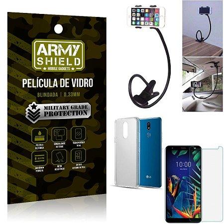 Kit Suporte Flexivel LG K12 K12 Plus Suporte + Película Vidro + Capa Silicone - Armyshield