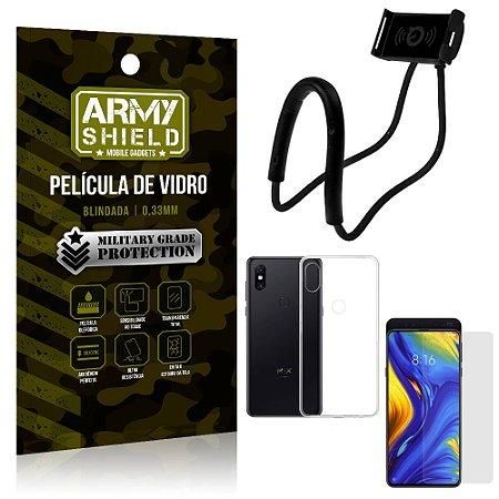 Kit Suporte Pescoço Xiaomi Mi Mix 3 Suporte + Película Vidro + Capa Silicone - Armyshield